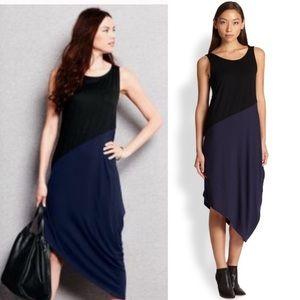 Eileen Fisher asymmetrical navy and black dress